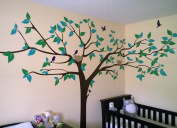 PopDecors - Colourful Super Big Tree Four Colours-340cm W - Beautiful Tree Wall Decals for Kids Rooms Teen Girls Boys Wallpaper Murals Sticker Wall Stickers Nursery Decor Nursery Decals