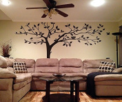 PopDecors - Super Big Tree Brown-340cm W - Beautiful Tree Wall Decals for Kids Rooms Teen Girls Boys Wallpaper Murals Sticker Wall Stickers Nursery Decor Nursery Decals PT-0129-DKB