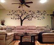 PopDecors - Super Big Tree Brown-340cm W - Beautiful Tree Wall Decals for Kids Rooms Teen Girls Boys Wallpaper Murals Sticker Wall Stickers Nursery Decor Nursery Decals PT-0129-DKB
