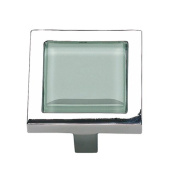 Atlas Homewares 230-GR/CH 4.4cm Spa Green Square Knob, Polished Chrome