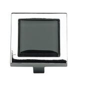 Atlas Homewares 230-BLK/CH 4.4cm Spa Black Square Knob, Polished Chrome