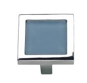 Atlas Homewares 230-BLU/CH 4.4cm Spa Blue Square Knob, Polished Chrome