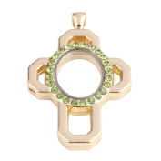 Cross shaped zinc alloy design green crystal locket with gold plating 51*34*7mm