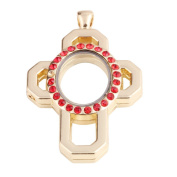 Cross shaped zinc alloy design red crystal locket with gold plating 51*34*7mm