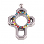 51*34*7mm Cross shaped zinc alloy design multiple coloured crystal locket with gun black plating