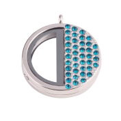 Large round shaped 36*0.8mm zinc alloy silver plated thick locket with deep blue crystal