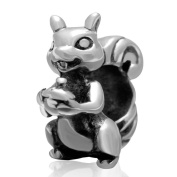 Big Hole Squirrel Bead 925 Sterling Silver Charm for European Brand Bracelet