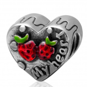 My Heart with Red Strawberry Charm 925 Sterling Silver Bead for Eouropean Bracelet Jewellery
