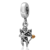 Cupid Love Charm Genuine 925 Sterling Silver Dangle Bead for Brand European Bracelet Compatible