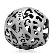 Thank You Charm 925 Sterling Silver Round Bead for Compatible Brand Bracelet Jewellery