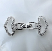 One set of Luxurious Cubic Zirconia Clasp Multi Strand Tab White Gold Plated Rhinestone Crystal Necklace Bracelet Jewellery Supply AC090