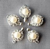 5 pcs Rhinestone Crystal Pearl Clasp Silver Plated Brass Single Strand Tab Wedding Jewellery Necklace Bracelet DIY Supply AC081