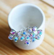 20 CLEAR AB Crystal Bouquet Jewellery 5mm silver plated Headpin Centrepiece Stem Wedding Cake Decoration. USA AC020