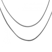 VALYRIA Fashionable S925 Sterling Silver Box Earners Chain Necklace,50cmx1.2mm