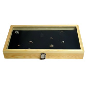 Natural Wood Tempered Glass Top Lid With 72 Slits Ring Foam