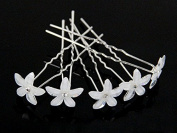 Onairmall White Flower Bridal Wedding Hair Pin with Rhinestone Crystal Centre