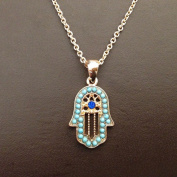 Onairmall Turquoise Women Delicate Jewellery Hamsa Necklace Hand of Fatima Lucky/Evil Eye Protection Amulet