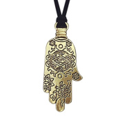 Onairmall Antiqued Golden Hamsa Hand Evil Eye Charms Pendant Necklace