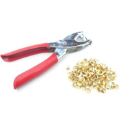 "100pc 5/32"" 4mm Brass Eyelets and Setting Pliers Kit - Shoes Belts Bags Leather"
