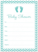 24 Cnt Teal Elephant Fill-in Baby Shower Invitations