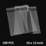 The Elixir Packaging 25cm by 33cm 100 Poly Bag Clear Resealable Reclosable Poly Plastic Bags