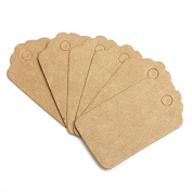 Teensery 100 Pcs Mini Scallop Kraft Paper Label Tag Party Wedding Gift Tag Price Tag Name Card Tag