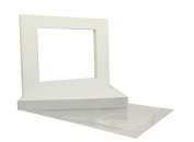 Mat Board Centre Premier High Quality Crescent 11x14 White Picture Mat Sets. Includes a Pack of 50 White Core Bevel Cut Matte for 8x10 Photos, Pack of 50 Backers and 50 Clear Bags