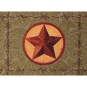 46cm Barbed Wire Western Star over Paisley Jaquard Stich Decorative Placemat