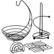 RAGALTA 4 Piece Useful Kitchen Set - Chrome Construction, Square Trivet, Paper Towel Holder, Banana Holder, Napkin Holde