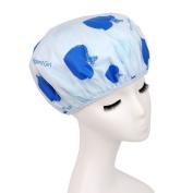 Lvge Japan Style Double Layers Elastic Reusable Waterproof Shower Cap Blue