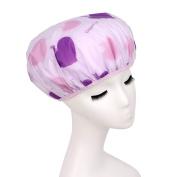 Lvge Japan Style Double Layers Elastic Reusable Waterproof Shower Cap Purple