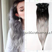 Black and Silver Grey Two Colours Ombre Hair Extensions, Indian Remy Cip in Straight Ombre Human Hair Extensions RHS352
