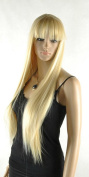 Thz® Women's Long Straight Yellow Blonde Kanekalon Fibre Wig