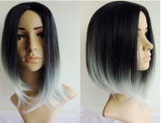 Black to Grey Ombre Wig, Fashion Heat Resistant Full Head Bob Style Fun Wig(Bob Hair Style)