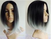Black to Grey Ombre Wig, Fashion Heat Resistant Full Head Bob Style Fun Wig(Bob Hair Style)