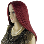 THZ® 70cm Women's Long Straight Wine Red Mid-split Bangs Heat-resistance Kanekalon Full Hair Wig