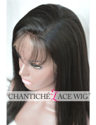 Chantiche® Best Yaki Straight Lace Front Wigs With Baby Hair 100% Indian Remy Human Hair Wig For Women 130% Density 41cm #1B Medium Size Cap Medium Brown Lace