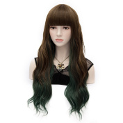 Amybria Women Cosplay Synthetic Full Bangs Wavy Wig Party Free Cap Ombre Green