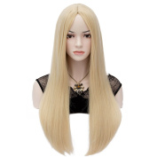 Amybria Women Middle Part Long Straight Blonde Full Wig Party Costume Free Cap