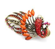 Beyend Orange Women's Vintage Crystal Peacock Hair Clip Head Wear