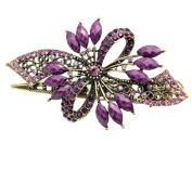 Beyend Purple Women's Vintage Crystal Bowknot Hair Clip Head Wear BE-02