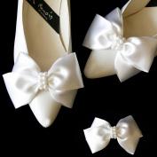 Satin Big Bow Pearl Shoe Clips Shoe Ornaments Shoe Ribbon Charm Accessory