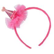 Glitter Cone Hat Headband - Cherry Pink