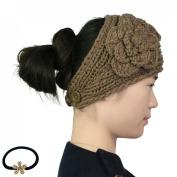 kilofly Crochet 3D Rose Winter Knit Headband, with Faux Pearl Flower Hair Band