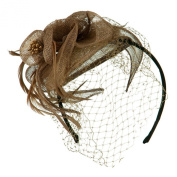 Sinamay Tear Drop Cocktail Hat - Taupe W01S37F