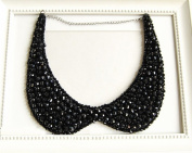 Crystal Beaded Necklace Chain Detachable False Collar Black