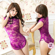 Ocely Women's Lace Transpartent Sexy Chinese Cheongsam Costume Lingerie Dress One Size Purple