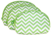 Ever Moda Green Chevron 3 Piece Cosmetic Bag Set