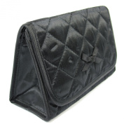 Cosmetic Bag with a Mirror, Small Size, Satin Black