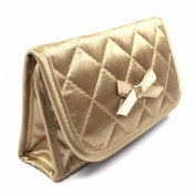 Cosmetic Bag with a Mirror, Large Size, Satin Bronze